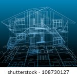 House technical draw. Vector blue background - stock vector