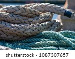 a cluster of two types of ropes.... | Shutterstock . vector #1087307657