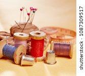 diy concept. sewing supplies ... | Shutterstock . vector #1087309517