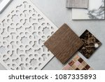 samples of material  wood   on... | Shutterstock . vector #1087335893