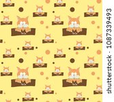 cat colorful seamless vector... | Shutterstock .eps vector #1087339493