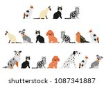 dogs and cats border set | Shutterstock .eps vector #1087341887