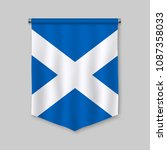 3d realistic pennant with flag... | Shutterstock .eps vector #1087358033