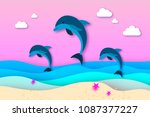 three jumping dolphins in the... | Shutterstock .eps vector #1087377227