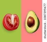 avocado and tomato. vector... | Shutterstock .eps vector #1087395677