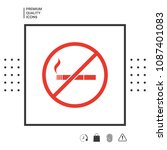 no smoking  smoking ban icon.... | Shutterstock .eps vector #1087401083