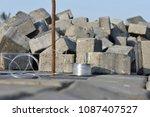 pile of concrete cube blocks... | Shutterstock . vector #1087407527