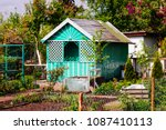 allotment hut in the spring time | Shutterstock . vector #1087410113