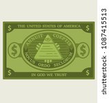 icon american dollar banknote.... | Shutterstock .eps vector #1087415513