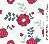 colorful floral flower seamless ... | Shutterstock .eps vector #1087424627