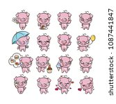 collection of cutest pig... | Shutterstock .eps vector #1087441847