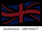 waving british state flag... | Shutterstock .eps vector #1087443677
