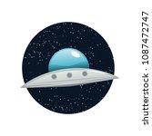 ufo flying spaceship vector... | Shutterstock .eps vector #1087472747