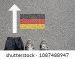 a man with a suitcase wants to... | Shutterstock . vector #1087488947