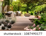 beautiful wooden terrace with... | Shutterstock . vector #1087490177