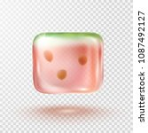watermelon ice cube isolated on ... | Shutterstock .eps vector #1087492127