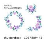 set of floral arrangements for... | Shutterstock .eps vector #1087509443
