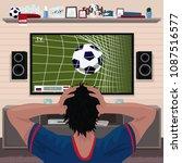 football fan in despair grabs... | Shutterstock . vector #1087516577