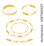 wheat ears  oval frames set ... | Shutterstock .eps vector #1087560437