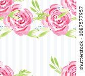hand painted watercolor floral... | Shutterstock . vector #1087577957