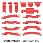 set of red ribbons.realistic... | Shutterstock .eps vector #1087604147