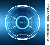 futuristic vr hud frosted glass ... | Shutterstock .eps vector #1087614527