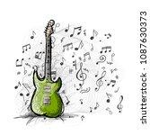 art sketch of guitar design | Shutterstock .eps vector #1087630373