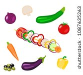 vegetables picnic in the open... | Shutterstock .eps vector #1087635263