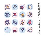space icons made in modern line ... | Shutterstock .eps vector #1087690877