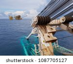pipelaying vessel with a... | Shutterstock . vector #1087705127