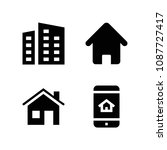 house related set of 4 icons... | Shutterstock .eps vector #1087727417