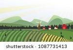 rural colorful cartoon... | Shutterstock .eps vector #1087731413
