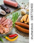 assorted smoked and cured spicy ... | Shutterstock . vector #1087732403