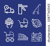 outline transport icon set such ... | Shutterstock .eps vector #1087760543