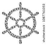 boat steering wheel composition ... | Shutterstock .eps vector #1087761053