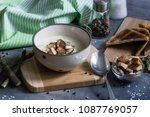 delicious asparagus soup with...   Shutterstock . vector #1087769057