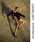 woman with long slim legs  look....   Shutterstock . vector #1087780457