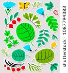 floral set. flowers and leaves... | Shutterstock .eps vector #1087794383