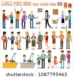 set of people in a supermarket... | Shutterstock .eps vector #1087795463