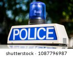 police vehicle sign with blue... | Shutterstock . vector #1087796987