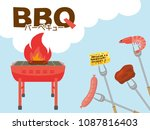barbeque party vector poster. ... | Shutterstock .eps vector #1087816403