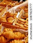 bakery food. fresh pastries in...   Shutterstock . vector #1087823777