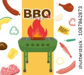barbeque party vector poster. ... | Shutterstock .eps vector #1087862873