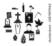 funeral icons set. simple... | Shutterstock .eps vector #1087895963