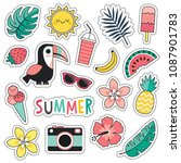 cartoon style vector summer... | Shutterstock .eps vector #1087901783