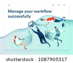 People flying and interacting with graphs and papers. Business and workflow management. Landing page template, 3d isometric vector illustration. | Shutterstock vector #1087905317