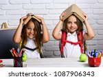 cheerful smiling little girls... | Shutterstock . vector #1087906343