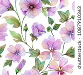 beautiful lavatera flowers with ... | Shutterstock . vector #1087910363