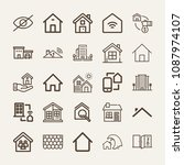 set of 25 home outline icons... | Shutterstock .eps vector #1087974107