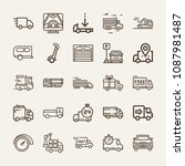 set of 25 vehicle outline icons ... | Shutterstock .eps vector #1087981487